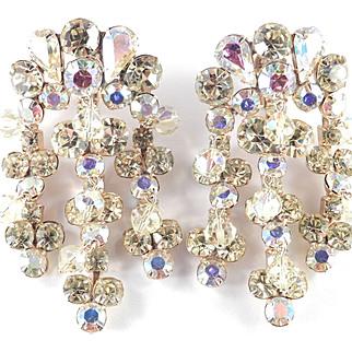 """Weiss Rhinestone Glass Bead Girandole Chandelier Dangle Earrings 2 3/4"""""""