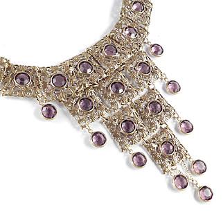 Goldette Colette Set Crystal Panel Dangle Bib Necklace Unsigned