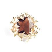 Alice Caviness Art Glass Rhinestone Putti Cherub Angel Star Brooch Pin