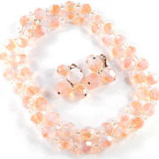 Vogue Givre Crystal Glass Bead Necklace Dangle Earrings Demi Parure Set