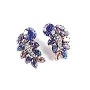 Weiss Crescent Leaf Feather Rhinestone Earrings