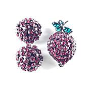 Joseph Warner Rhinestone Strawberry Berry Fruit Brooch Pin Earrings Demi Parure Set