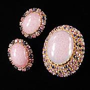 Schoffel Art Glass Cabochon Rhinestone Brooch Earrings Demi Parure Set