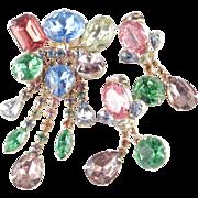 Rhinestone Fringe Dangle Brooch Pin Earrings Demi Parure Set