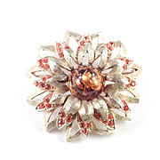 Charel Foiled Art Glass Cabochon Rhinestone Brooch Pin