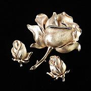Trifari Rose Flower Blossom Brooch Pin Earrings Demi Parure Set Pristine