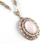 West Germany Rhinestone Glass Cabochon Faux Pearl Pendant Necklace