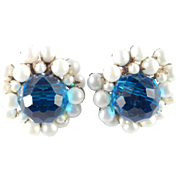 Miriam Haskell Glass Crystal Bead Faux Pearl Cluster Earrings