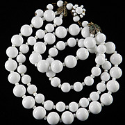 Miriam Haskell Double Strand Glass Bead Necklace