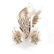 Trifari Winged Beaded Rhinestone Brooch Pin Earrings Demi Parure Set