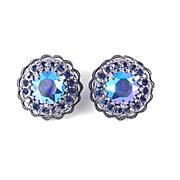 Weiss Domed Layered Headlight Rhinestone Earrings