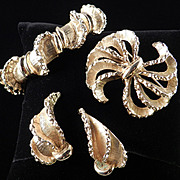 Mid Century Modern Monet Clamper Bracelet Brooch Pin Earrings Parure Set
