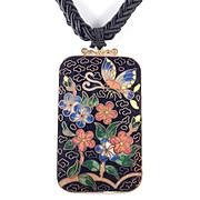Les Bernard Cloisonne Choker Pendant Necklace Braided Silk Cord