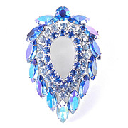 Sarah Coventry DeLizza & Elster Blue Lagoon Rhinestone Brooch Pin Rhodium Plate
