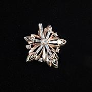 Trifari Rhinestone Maple Leaf Brooch Pin Pendant