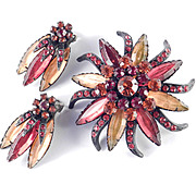 Selini Selro Rhinestone Brooch Pin Earrings Demi Parure Set Japanned