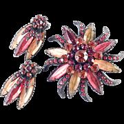 Selini Selro Rhinestone Brooch Pin Earrings Demi Parure Set Japanned