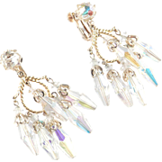 Vendome Coro Crystal Glass Prism Icicle Dangle Chandelier Earrings