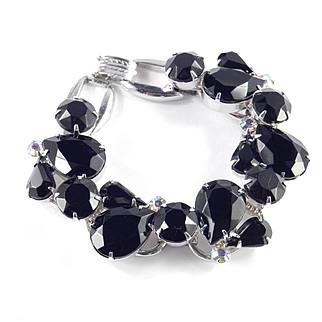 DeLizza & Elster Juliana Black Art Glass Rhinestone Bracelet