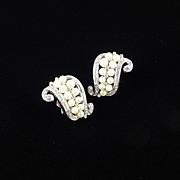 Trifari Rhinestone Faux Pearl Scroll Earrings Rhodium Plate