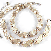 Trifari Rhinestone Faux Pearl Necklace Bracelet Demi Parure Set