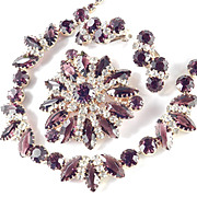 Rhinestone Art Glass Necklace Brooch Pin Earrings Parure Set