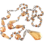 Art Deco Topaz Glass Bead Lavalier Necklace
