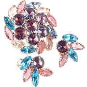 Rhinestone Art Glass Cabochon Brooch Pin Earrings Demi Parure Set