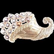 B. David Art Glass Rhinestone Cornucopia Brooch Pin