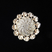 Reja Domed Rhinestone Brooch Pin Rhodium Plate