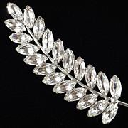 Rhinestone 4 1/2 Inch Leaf Brooch Pin