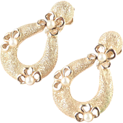 Trifari Faux Pearl Dangle Door Knocker Earrings