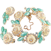 D & E Juliana Filigree Bead Rhinestone Faux Jade Bracelet Earrings Demi Parure Set