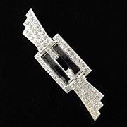 Art Deco Rhinestone Art Glass Brooch Pin Pot Metal