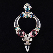 Trifari Jewels of Tanjore Cabochon Art Glass Rhinestone Sterling Silver Brooch Pin