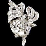 Rhinestone Bow Brooch Pin Pendant Rhodium Plate