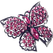 Weiss Japanned Rhinestone Butterfly Brooch Pin