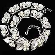 Trifari Rhinestone Faux Pearl Leaves Necklace