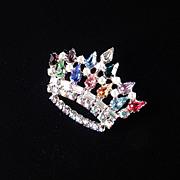 B. David Rhinestone Faux Pearl Crown Brooch Pin