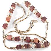 Vintage Miriam Haskell Wood Grained Cube & Rhinestone Rondelle Necklace