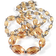Topaz Colored Faceted Glass Bead Necklace