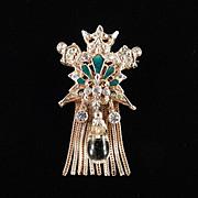 Rhinestone Enamel Glass Bead Star Crest Crown Fringe Brooch Pin