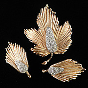 Rhinestone Leaf Brooch Pin Earrings Demi Parure Set