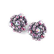 Domed Spiral Pinwheel Rhinestone Earrings