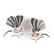 Austria Rhinestone Enamel Wasp Bee Insect Bug Earrings