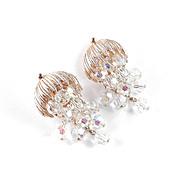 Crystal Glass Bead Dangle Chandelier Earrings