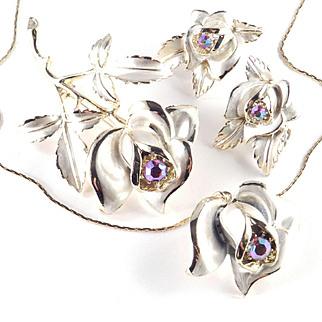 Florenza Rhinestone Enamel Mist Rose Necklace Earrings Brooch Pin Parure Set