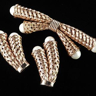 Basket Weave Woven Mesh Faux Pearl Brooch Pin Earrings Demi Parure Set