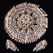 SHERMAN-style Massive Rhinestone Pinwheel Brooch Earrings Demi Parure Set
