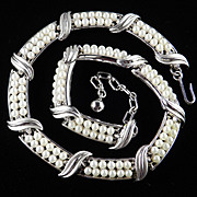Trifari Double Row Faux Pearl Link Necklace
